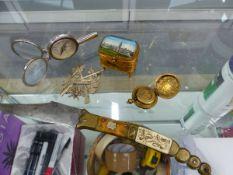 A VINTAGE TRINKET BOX, A BRASS SOVEREIGN CASE, A SPANISH FOLDING KNIFE, MILITARY BADGE ETC.