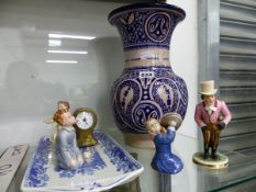 AN ISLAMIC BLUE AND WHITE VASE, A BALLOON CLOCK AND FOUR VARIOUS FIGURES TO INCLUDE A DERBY FIGURE