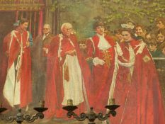20TH CENTURY BRITISH SCHOOL, THE QUEEN AND OTHER DIGNITARIES, OIL ON BOARD, UNFRAMED, 105 x 105cm