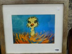 FOUR VARIOUS CONTEMPORARY ART WORKS OF VARIOUS SUBJECTS, INITIALLED AND INSCRIBED VERSO, SIZES