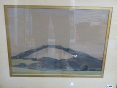 AN INTERESTING EARLY 20TH CENTURY LANDSCAPE WATERCOLOUR, INDISTINCT LABEL VERSO, 36 x 46cm