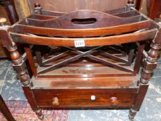A 19TH C. ROSEWOOD CANTERBURY.