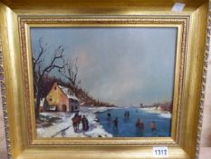 19TH CENTURY ENGLISH SCHOOL, SUNDAY IN THE COUNTRY, HOLLAND, OIL ON CANVAS, 19 x 26cm, TOGETHER WITH