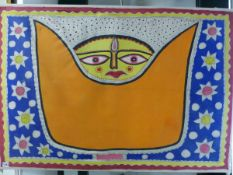 TWO INTERESTING TRIBAL/ETHNIC PAINTINGS ON LINEN. UNFRAMED LARGEST 83 x 120 cm (2)
