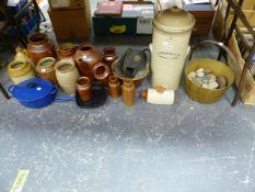 SALTGLAZE JARS, LE CREUSET PANS AND A STONE WARE WATER FILTER