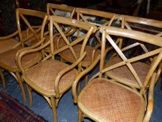 A SET OF SIX BENTWOOD ARMCHAIRS