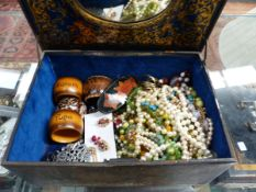 A QUANTITY OF MOSTLY MODERN COSTUME JEWELLERY AND FOUR VARIOUS NAPKIN RINGS.