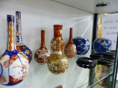 TWO CHINESE GINGER JARS TOGETHER WITH JAPANESE BOTTLE VASES