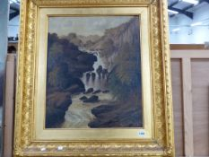L DUVAL (LATE 19th CENTRY) A MOUNTAIN WATERFALL, SIGNED OIL ON CANVAS. INSCRIBED VERSO 64 x 53cm
