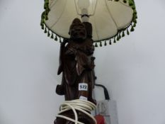 A CHINESE HARDWOOD DAOIST IMMORTAL TABLE LAMP
