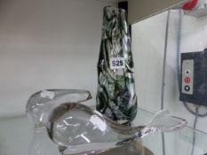 AN ART GLASS VASE, A WEDGWOOD GLASS WHALE AND POLAR BEAR