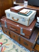 A WOOD SLATED TRUNK, SUITCASES ETC.