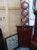 A 19th.C. OAK CASED 8 DAY LONG CASE CLOCK, COMPLETE WITH WEIGHTS, PENDULUM AND KEY, THE DIAL