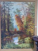 20th CENTURY SCHOOL. A WOODED RIVER LANDSCAPE, SIGNED INDISTINCTLY OIL ON CANVAS 124 x 90 cm