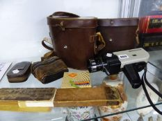 TWO PAIRS OF CASED BINOCULARS, OPERA GLASSES, CHINON MOVIE CAMERA AND A SLIDE RULE