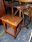 A YEW WOOD JOINT STOOL AND AN ITALIANTE WALNUT SIDETABLE