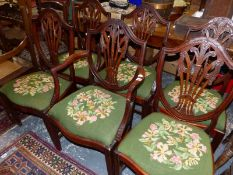A SET OF SIX MAHOGANY HEPPLEWHITE STYLE DINING CHAIRS (6)