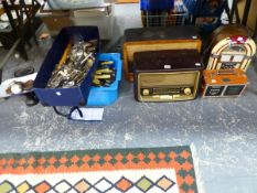 FOUR RADIOS TOGETHER WITH ELECTROPLATE CUTLERY, SCALES AND WEIGHTS