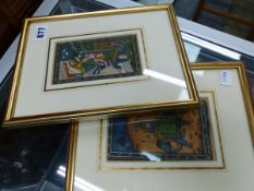 TWO EASTERN PAINTED PICTURES,TOGETHER WITH A BAXTER PRINT, AND NUMEROUS PAGES OF ORIENTAL