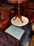 TWO TRIPOD OCCASIONAL TABLES AND A CABRIOLE LEGS DRESSING STOOL
