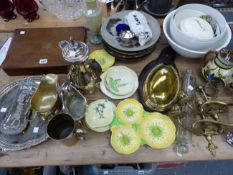 ELECTROPLATE, CARLTON WARE, A PAIR OF BRASS TWO BRANCH WALL LIGHTS AND A GLASS ROLLING PIN