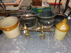 THREE COPPER COAL SCUTTLES, BRASS ANDIRONS AND A FOOTMAN, A TWO TONE STONEWARE FLASK AND POT