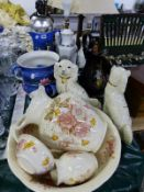 THREE JUG AND BOWL SETS, TABLE LAMPS AND STAFFORDSHIRE SPANIELS