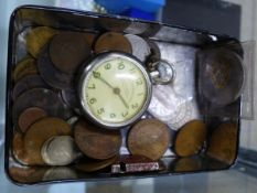 A SMALL BOX OF VINTAGE COINS AND A WATCH AF.