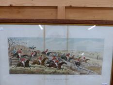 AFTER JOAN BEAN PAUL, FOUR ANTIQUE HAND COLOURED PRINTS OF THE LEICESTERSHIRE HUNT, 39 x 69cm (4)