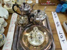 AN ELECTROPLATE FOUR PIECE TEA SET, A TRAY, A CRUET, ETC.