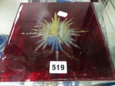 FOUR LEADED GLASS GEOMETRIC PANELS TOGETHER WITH A RUBY OVERLAY GLASS PANEL CUT WITH A STAR