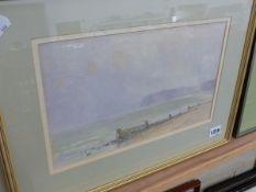 A P WINTERINGHAM (20TH CENTURY ENGLISH SCHOOL) A COASTAL VIEW, SIGNED WATERCOLOUR, 20 x 33cm,
