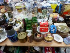 DECANTERS, STUDIO POTTERY, A BOW COFFEE CAN, A CLARICE CLIFF BOWL OTHER WARES AND A GOLD TOPPED