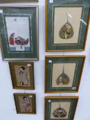 SOUTH EAST ASIAN SCHOOL, EIGHT GOUACHE PORTRAITS ON LEAVES, SOME SIGNED INDISTINCTLY, TOGETHER