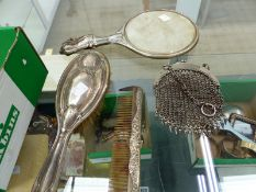 A VINTAGE CHAIN MAIL PURSE, A SILVER BACKED BRUSH ETC.
