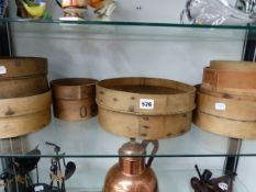 A GRADED SET OF SEVEN FLOUR SIEVES