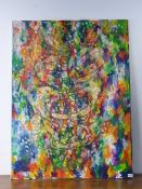 CONTEMPORARY SCHOOL. AN UNFRAMED OIL ON CANVAS OF AN ABSTRACT SUBJECT 122 x 91 cm