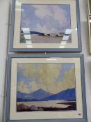AFTER PAUL HENRY, TWO IRISH LANDSCAPE VIEWS, COLOUR PRINTS, 39 x 49cm