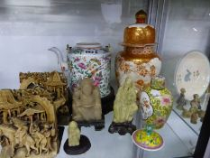 A CANTON TEA POT, KUTANI VASE AND VARIOUS CHINESE SOAPSTONE FIGUIRES
