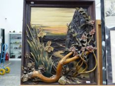 A DECORATIVE RELIEF PICTURE OF A COASTAL VIEW 72 x 61 cm