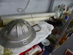 AN ALUMINIUM HELMET, WORLD WAR II AND OTHER MAPS, FLYING GOGGLES, BLACK LEATHER CAP AND A WHITE