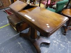 A VICTORIAN ADJUSTABLE READING/WRITING TABLE ON OCTAGONAL COLUMN AND PLATFORM BASE, 92 x 45 x 75cm
