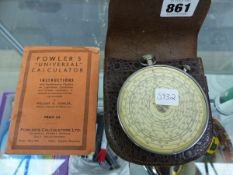 A FOWLERS UNIVERSAL CALCULATOR IN ORIGINAL POUCH WITH INSTRUCTIONS.