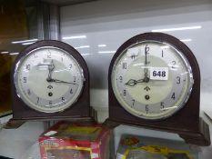 TWO BAKELITE CASED SMITHS WAR DEPARTMENT MANTEL TIMEPIECES