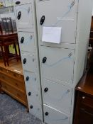 TWO METAL LOCKERS, LARGEST W 46 X D 46 X H 178CMS.