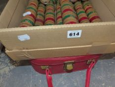 A SET OF WOODEN SKITTLES TOGETHER WITH AN OVERNIGHT CASE