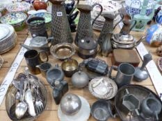 ELECTROPLATE, COPPER AND PEWTER TO INCLUDE TWO HIP FLASKS