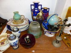 A PAIR OF CHINESE CRACKLEWARE VASES, A CRUCIFIX, A TERRESTIAL GLOBE TOGETHER WITH MISCELLANEOUS
