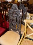 A PAIR OF VICTORIAN CARVER OAK SIDE CHAIRS