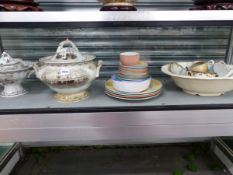A BOAT PRINTED POTTERY SOUP TUREEN, MATCHING WARES, DOULTON SOUP BOWLS AND STEELITE TEA WARES